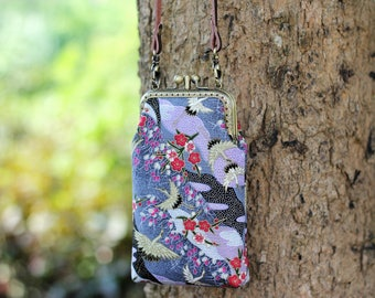 Cross body phone case two compartment, Japanese fabric floral and cranes, iPhone 6, iPhone 5