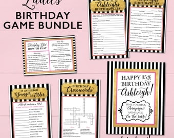 Birthday Party Games For Women & Teens - Personalized - Printable OR Printed [#102]