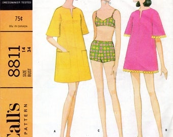 "1960's Women's 2-Piece Swimsuit or Bikini and Beach Coat or Cover-up Pattern- Size 14, Bust 34"" - McCall's 8811"