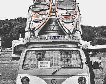 Kayaks On A Bus 13x19 Volkswagen Bus VWBus Peace Hippie 60's 70's Woodstock On The Bus Or Off The Bus Zen Meditate Activist Movement Love