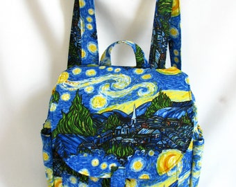 Small backpack- Van Gogh inspired cotton