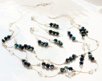 Blue Green Coated Black Spinel Necklace Earrings Set, Sterling Silver, multi strand necklace, chain dangle earrings on studs, gift for her