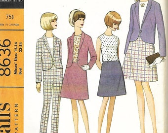 1960's McCall's 8636 Misses Separates Sewing Pattern, A-line Skirt, Jacket, Top & Pants, Sizze 12-14, UNCUT