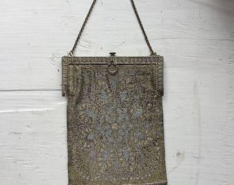 Marguerite beaded purse | Vintage French beaded evening bag | 1920's micro beaded flapper handbag