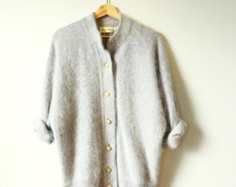 Vintage Cloudy Grey Angora Cardigan Coat / Vintage Sweater Coat / Oversized Light Gray Fuzzy Cardigan Angora Wool