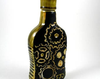 Flask - Whiskey Bottle, Decanter - Gears, steampunk, industrial in black and Green