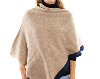 Womans Nude Knit Soft Pure Wool Poncho . Boat Neck and 3/4 sleeves knitt warm cape coat .Nautical style wrap. Spring Easter Holiday Outfit