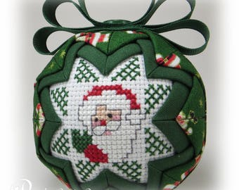 Quilted Ornament - Santa / HO HO HO - Quilted Christmas Ornament