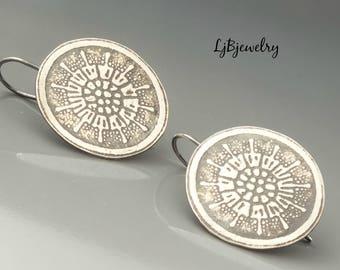 Silver Textured Earrings, Silver Jewelry, Statement Earrings, Silver Dangle Earrings, Metalsmith, Metalwork, Artisan Jewelry