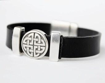 Celtic bracelet for men or women,  Unisex, Men leather jewelry, Celtic love knot bracelet,  Irish jewelry
