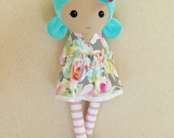 Fabric Doll Rag Doll 20 Inch Blue Haired Girl in Gray and Pink Floral Dress with Striped Leggings