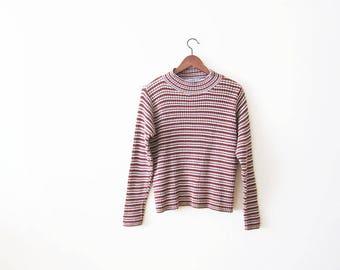 90s Shirt / Striped 90s Shirt / Mockneck Shirt / Ribbed Shirt / Grunge Shirt / Striped Shirt / Mock Neck Top / Ribbed Long Sleeve