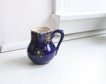 Antique French Stoneware Creamer with Side Handle, Blue with Raised Floral Glazing, Gilding, Valentines Gift, Romantic Gift, Gift for Her
