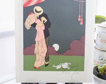 French Lithograph Print by Nina Rose, 1920, French Fashion, Love Birds, Valentines Gift, Lovers, Moonlight KIss,