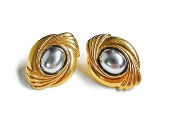 Silver and Gold Earrings Chrome Hematite Style Stone Oval Shape Shiny Decorative Small, Vintage Pierced Earrings