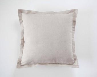 Linen throw pillow, light shade linen pillow, flanged pillow cover, beige pillowcase, decorative pillows cover custom size