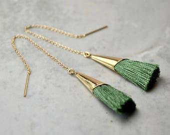Green Tassel Earrings, Tassel Threader Earrings, Green Long Earring, Sage Green Wedding Jewelry, Gold Filled Green Dangly Earrings Wife Gift