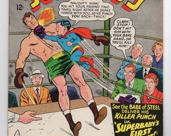 "Superboy Vol. 1 #124 ""The Insect Queen of Smallville"" - DC Comics 1965 - F/VF Condition - Features Superboy Boxing"