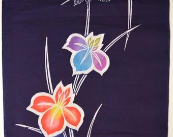 Cotton yukata fabric bolt, indigo blue, floral design, 11.5  meters, made in Japan