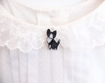 Tuxedo cat cross stitch pin, gifts for cat lovers, kitten collar pin, cat pin, gifts under 30, gifts for cat moms, black and white cat pin