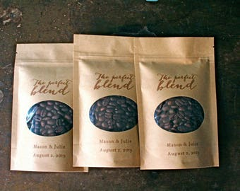 Personalized coffee favor bags, wedding favor bags, Kraft zipper top window bags for coffee beans, ground coffee, The Perfect Blend, coffee