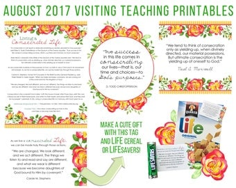 August 2017 Visiting Teaching Message Printable Instant Download - LDS - Mormon - VT Message