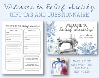 Welcome to Relief Society Gift Tag and Questionnaire - LDS Printable - Perfect for New Sisters - YW to RS transition