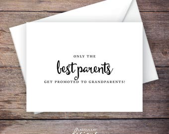 Printable Only the Best Parents Get Promoted to Grandparents Pregnancy Announcement, Script, Instant Download Card - Carmen