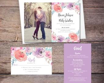 Floral Wedding Invitation Suite, Photo, Flowers, Modern, Invites, DiY Wedding, Print Yourself - Haven