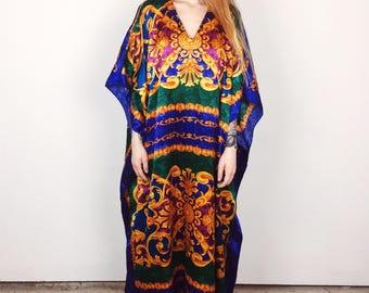 Silky Versace Style Royal Tunic Bohemian Kaftan Dress // Women's One Size