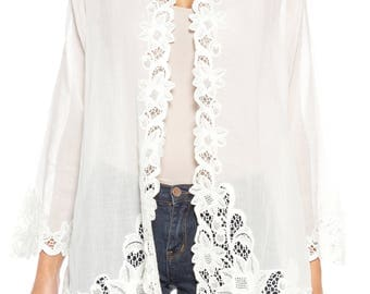 White Sheer Cotton Lace Peranakan Kebaya Jacket Size: 6