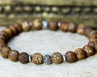 Beaded Bracelet, Stretch Bracelet, Agate Bracelet, Bracelet for Men, Jewelry for Men, Mala Bracelet, Stack Bracelet, Silver Bracelet, Boho