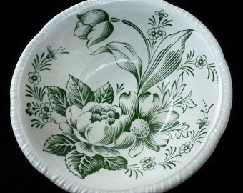 Homer Laughlin Dura Print Green Tulip, Salad Bowl, Serving Bowl, Kitchenware, Shabby Chic, Chippy Rustic Bowl