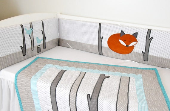 Crib Bumper, Fox Baby Boy Bedding  Gray White Orange