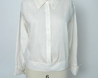 Vintage 1920s Blouse Antique Teens 1910s Cotton Shirt Size Medium Large