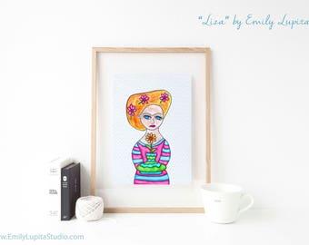 Art Print / Painting Stationary Invitations Greeting Card / Nursery Baby Girl's Room / Frida Blue Eyed Flower Girl Wedding Wall Art / Blonde