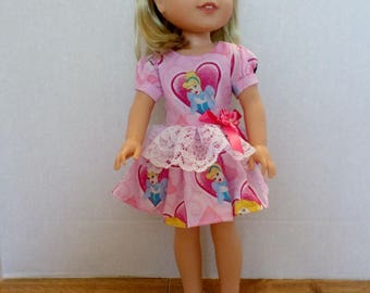 Pink Princess dress and headband American made to fit 14 1/2 inch Wellie Wisher dolls