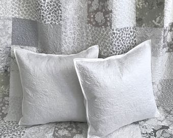 Euro Pillow Sham - Quilted Whole Cloth in White Custom Quilt Heirloom Wedding Quilt Ivory White