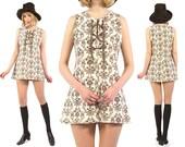Vtg 60s Swedish Baroque Lace Up Mini Dress S/M