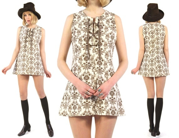 Vtg 60s Swedish Baroque Lace Up Mini Dress S/M