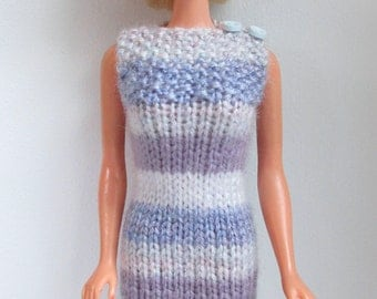 Barbie clothes - blue, grey and mauve striped dress with button shoulder
