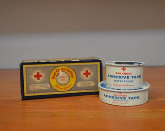 Vintage First Aid kit supplies Johnson and Johnson Red Cross cotton box and bandage tape tins