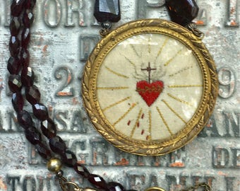 Amazing Nun's Sacred Heart Embroidery C 1850 from French Monastery under Glass