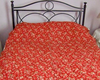 Antique French Boutis/Quilt hand stitched. Red small Flowers. Country House. Home and Living.