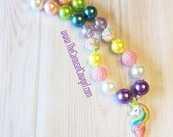 Mermaid Unicorn Bubblegum Necklace, Mermicorn Chunky Necklace, Unicorn Mermaid Jewelry, Toddler Unicorn, Newborn, Photo Prop, Mermaid