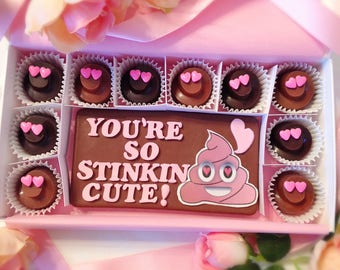 Valentine Poop Emoji Chocolates -  You're So Stinkin Cute Poop Emoji Chocolates - Girlfriend Chocolates - Valentine Gift - Cute Valentine