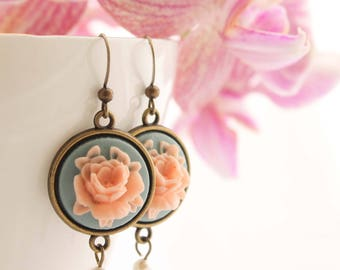 Blue & Pink Cameo Earrings - Vintage Rose Swarovski Pearl Regency Style Flower Drop Dangle Wedding Bridesmaid