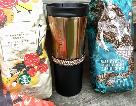 Starbucks Swag w/ Swarovski Rose Gold Crystal 16 oz Grande Christmas Holiday Copper Stainless Travel Coffee Tea Cup Tumbler Rhinestone Gift