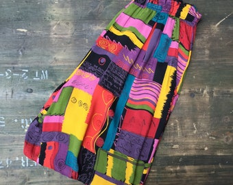 Block & Swirl Print Hippy Trousers