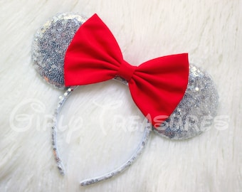 Silver Ears Mouse Ears Headband. All Over Sequin Mouse Ears Headband. Women and Girls Headband. Disney Headband. One Size Fits Most.
